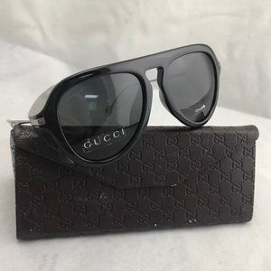 Gucci black silver aviator sunglasses GG3737